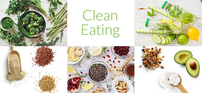 Grafik Clean Eating mit verschiedenen Clean Eating Lebensmittel