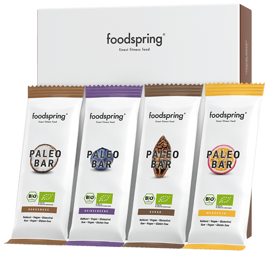 A package of Paleo Bars featuring all four mouthwatering flavors