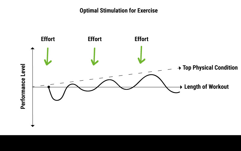 An infographic showing how the principle of overloading with appropriate rest periods can lead to an improved maximum performance.
