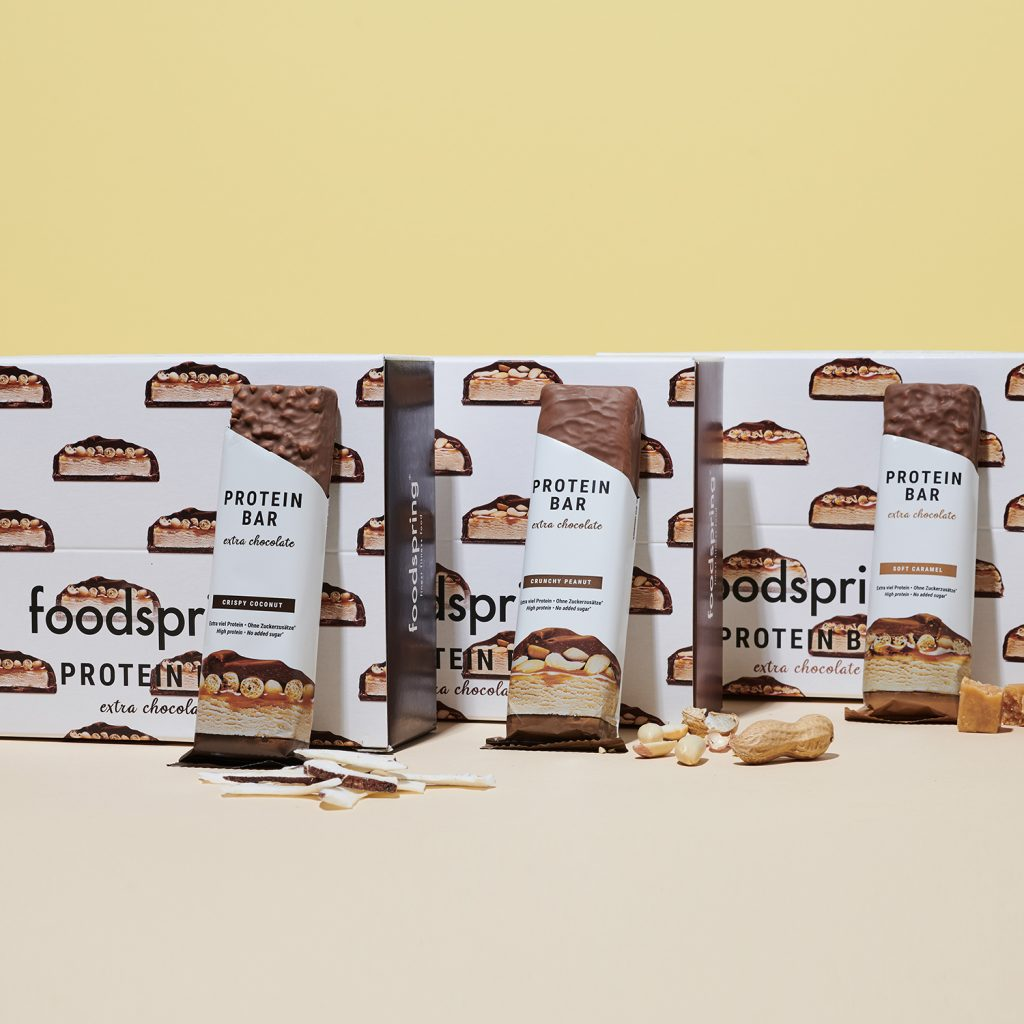 a photo of foodspring's Extra Chocolate Protein Bars