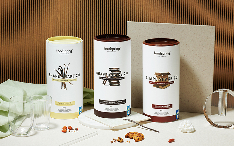 A setup of three flavors of Shape Shake 2.0 by foodspring, which is a good source of inulin.