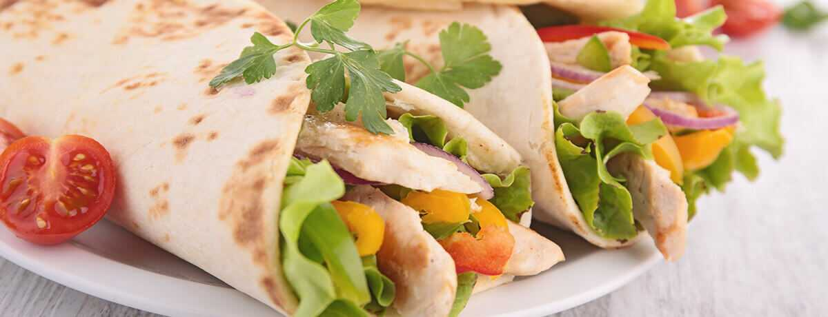 photo of a sweet chili chicken tortilla wrap